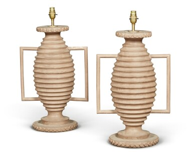 View 1. Thumbnail of Lot 1. A PAIR OF PAINTED WOOD LAMPS, 20TH CENTURY.