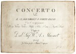 W. A. Mozart. First edition of the parts of the Piano Concerto in B flat, K. 595, 1791