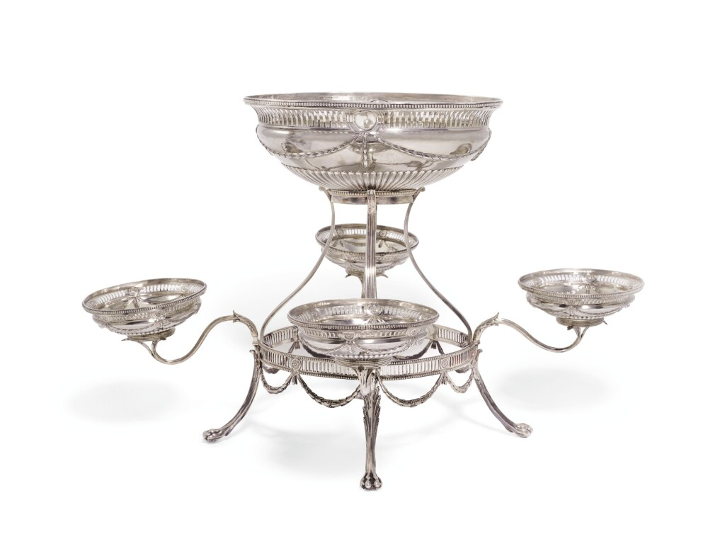 A GEORGE III SILVER FOUR-BRANCH ÉPERGNE, THOMAS PITTS I, LONDON, 1779