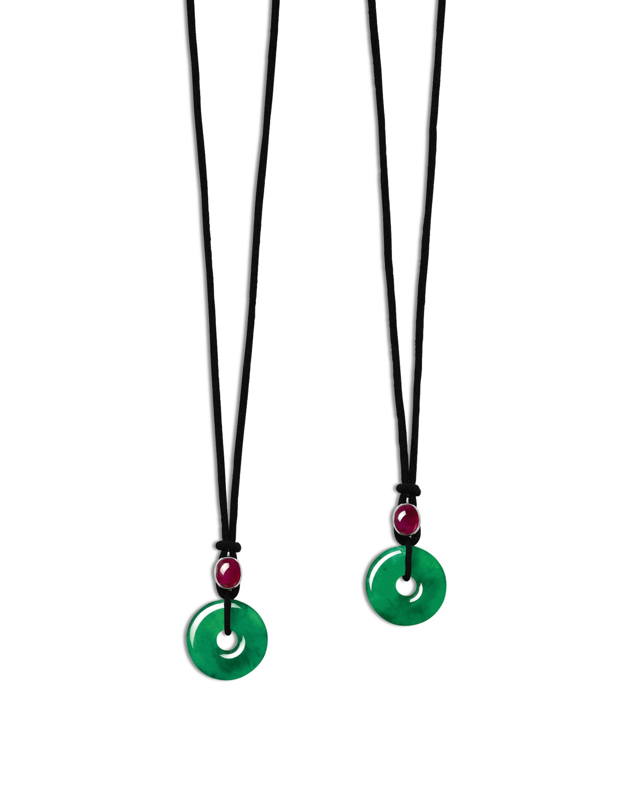 View full screen - View 1 of Lot 1723. Pair of Jadeite Hoop and Ruby Pendent Necklaces | 天然翡翠雕「平安扣」配 紅寶石 項鏈一對.