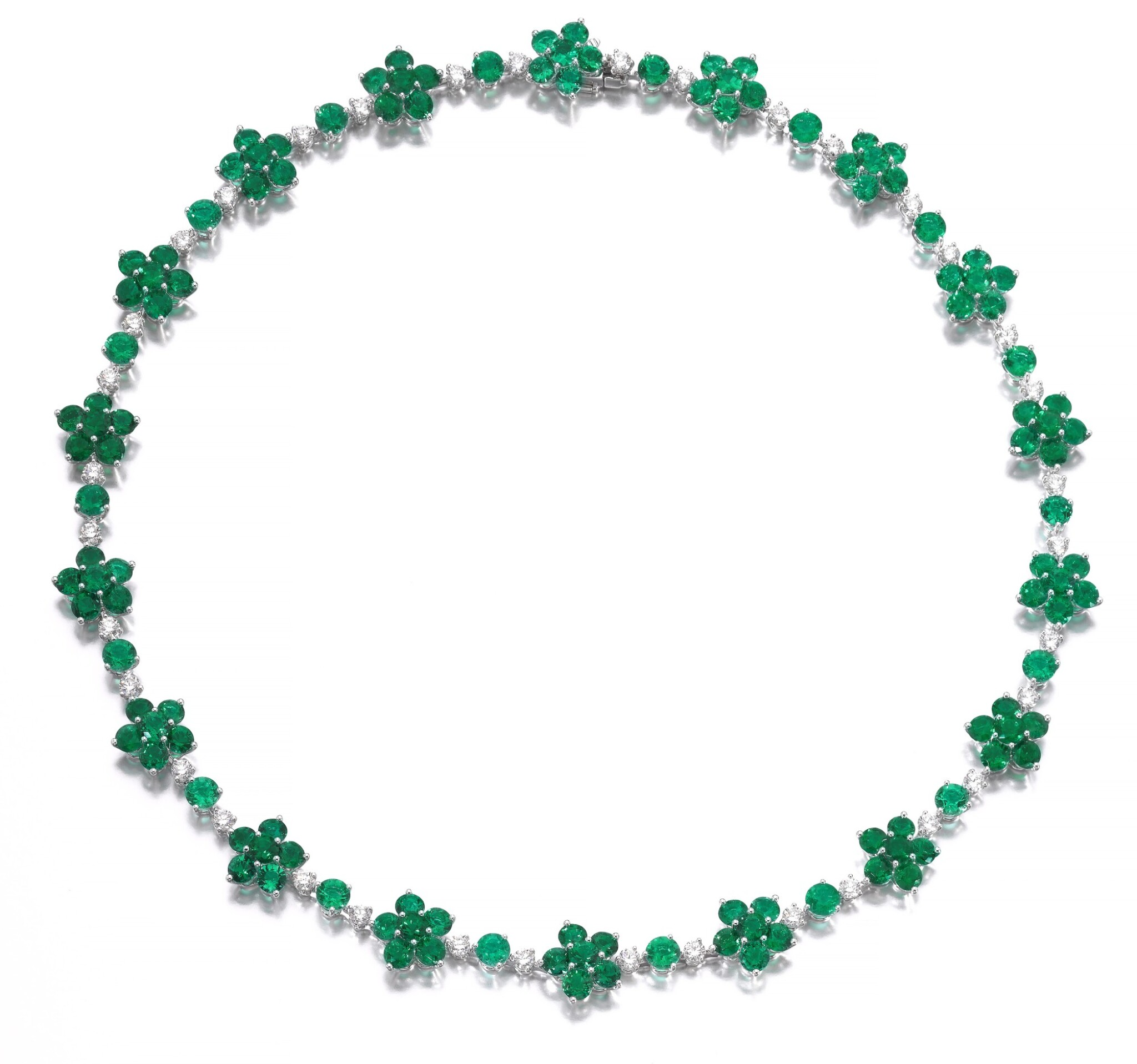 View full screen - View 1 of Lot 715. Graff | Emerald and diamond necklace | 格拉夫 | 祖母綠配鑽石項鏈.