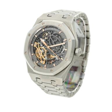 View 2. Thumbnail of Lot 56. Reference 15407ST.OO.1220ST.01 Royal Oak, A stainless steel skeletonized double balance wheel bracelet watch, Circa 2018.