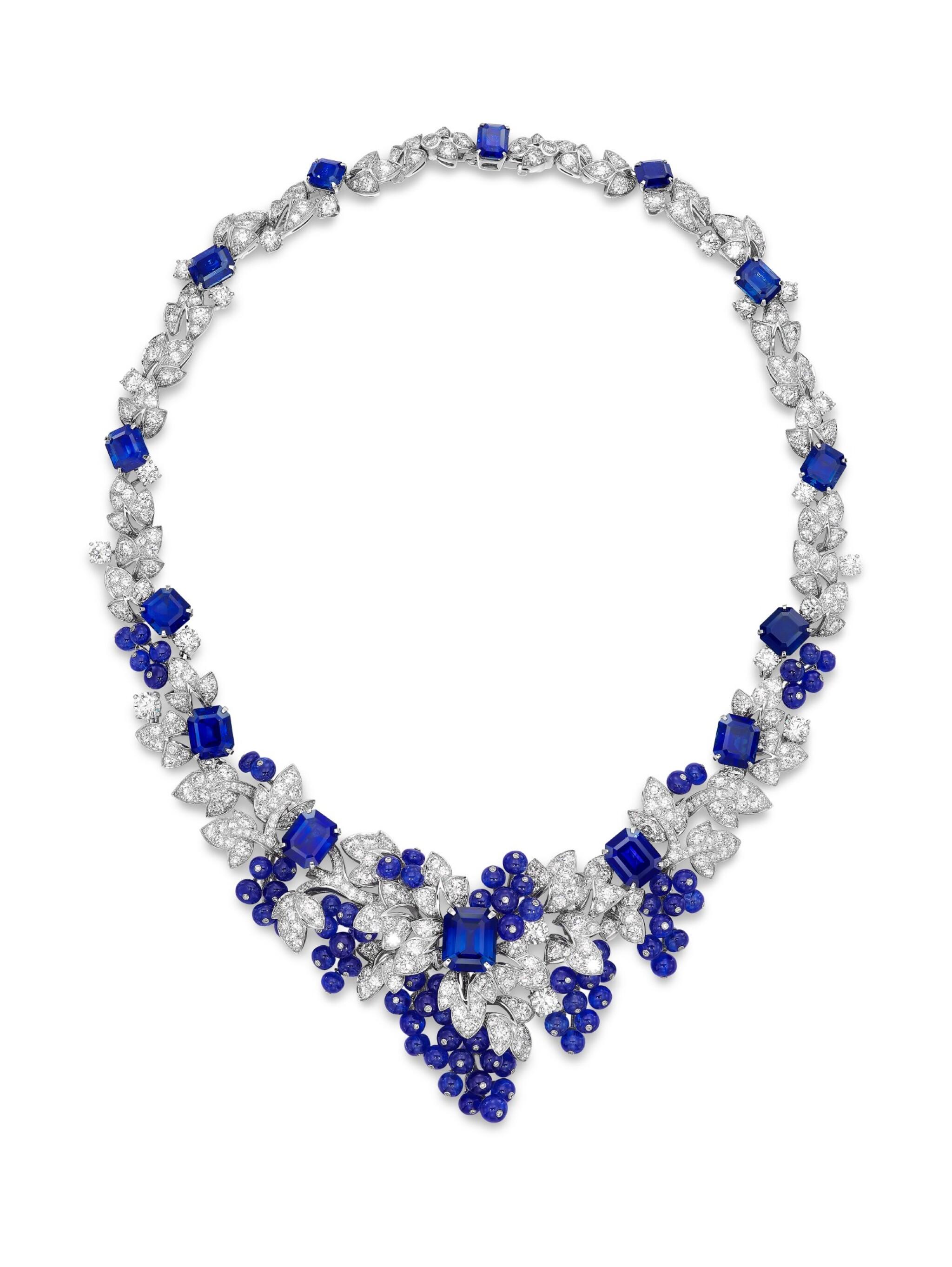 View full screen - View 1 of Lot 1649. GRAFF | SAPPHIRE AND DIAMOND NECKLACE格拉夫 | 藍寶石 配 鑽石 項鏈  (藍寶石及鑽石共重約142.06及33.96卡拉 ).