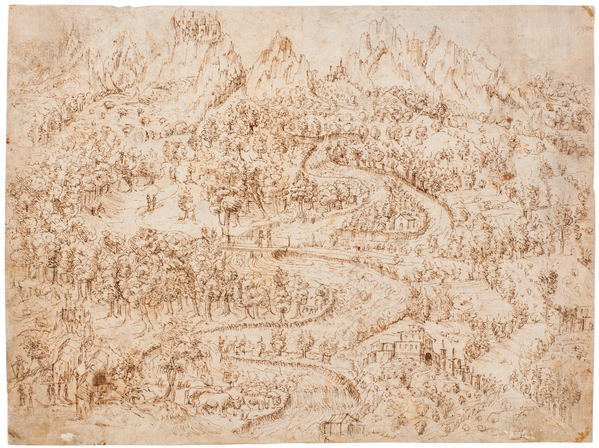 GERMAN SCHOOL, EARLY/MID-16TH CENTURY | BIRD'S EYE VIEW OF A RUGGED, WOODED RIVER LANDSCAPE