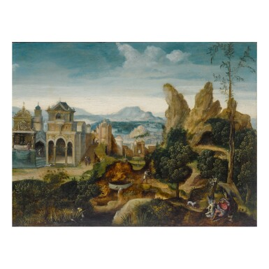 View 1. Thumbnail of Lot 21. THE MASTER OF THE FEMALE HALF-LENGTHS | MOUNTAINOUS LANDSCAPE WITH ELIJAH NOURISHED BY AN ANGEL AND A RAVEN.