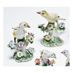 A PAIR OF BOW PORCELAIN FIGURES OF BUNTINGS CIRCA 1760