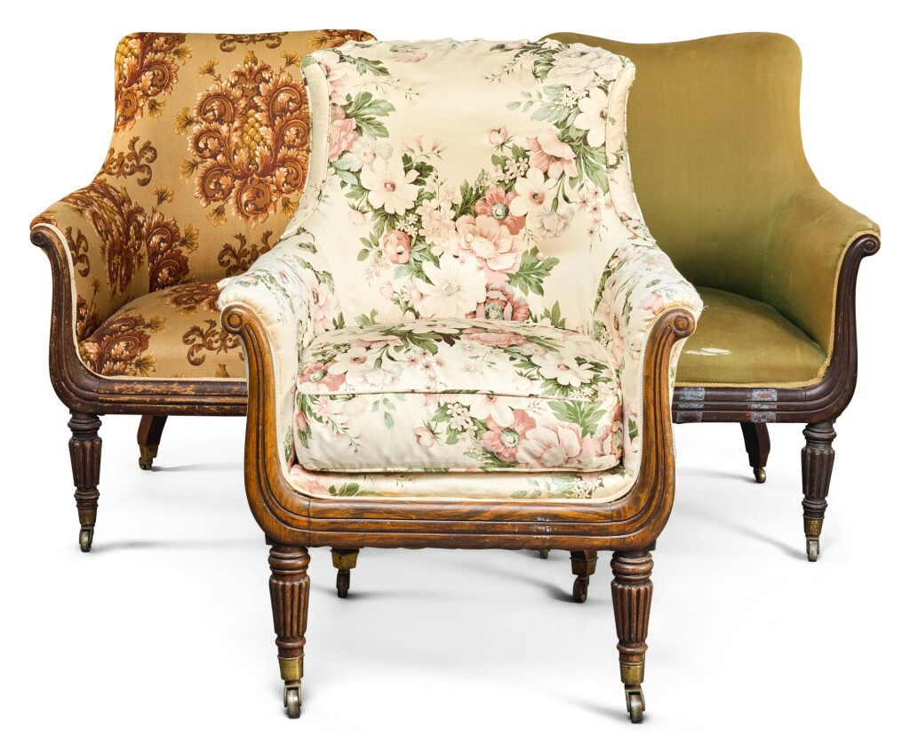 A MATCHED SET OF THREE GEORGE IV MAHOGANY AND FAUX-ROSEWOOD ARMCHAIRS, CIRCA 1825, IN THE MANNER OF GILLOWS
