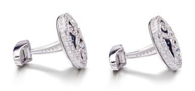View 2. Thumbnail of Lot 1091. 'Diamond on Diamond' Pair of Sapphire and Diamond Cufflinks |  格拉夫| 'Diamond on Diamond' 藍寶石 配 鑽石 袖扣一對 (藍寶石及鑽石共重約2.80及2.60克拉).