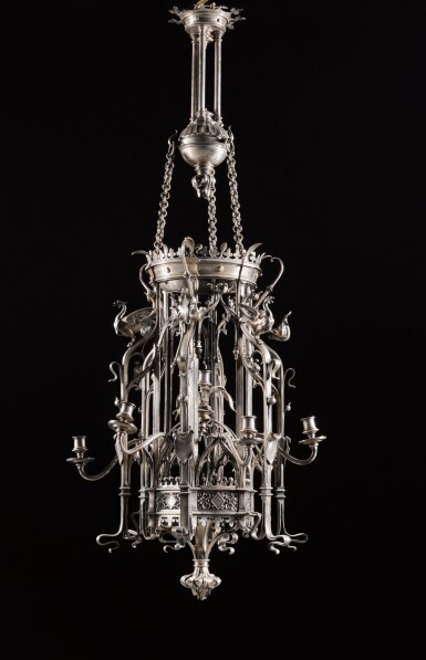 View 4. Thumbnail of Lot 130. A pair of French neo-gothic silvered bronze seven-light lanterns, late 19th century, attributed to Emile Froment Meurice.