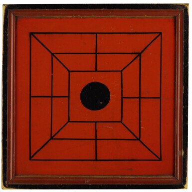 View 1. Thumbnail of Lot 1453. RED AND BLACK PAINTED WOODEN DOUBLE-SIDED TWELVE MEN'S MORRIS GAMEBOARD, NEW ENGLAND, 1850-70.