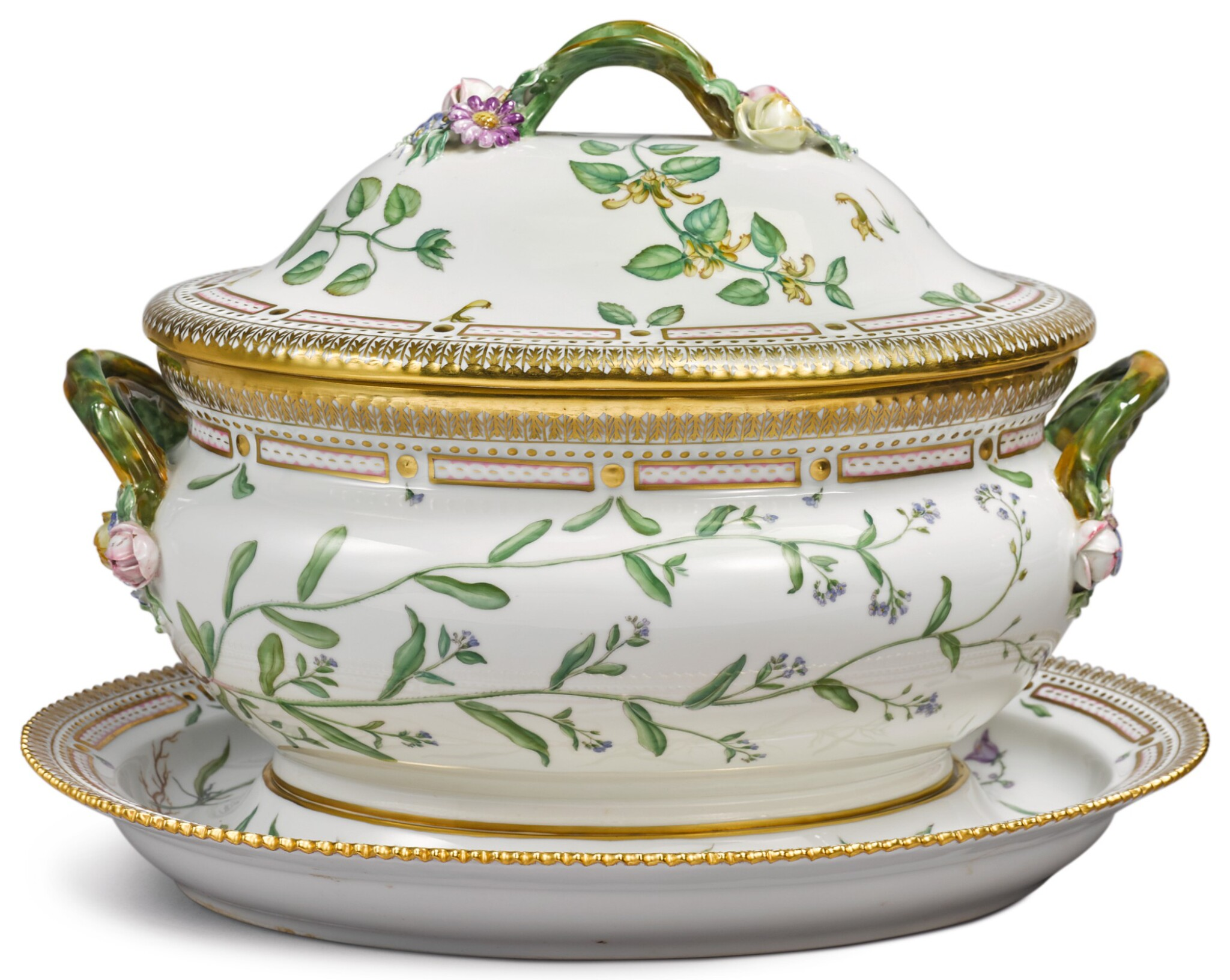 View full screen - View 1 of Lot 150. A ROYAL COPENHAGEN 'FLORA DANICA' OVAL TUREEN, COVER AND STAND, MODERN.