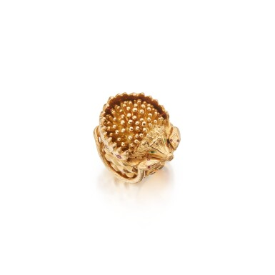View 1. Thumbnail of Lot 489. Gold and Gem-Set Ring.
