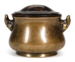 A SPLASHED BRONZE CENSER WITH MYTHICAL BEAST HANDLES | 17TH CENTURY | 十七世紀 瑞獸雙耳銅爐