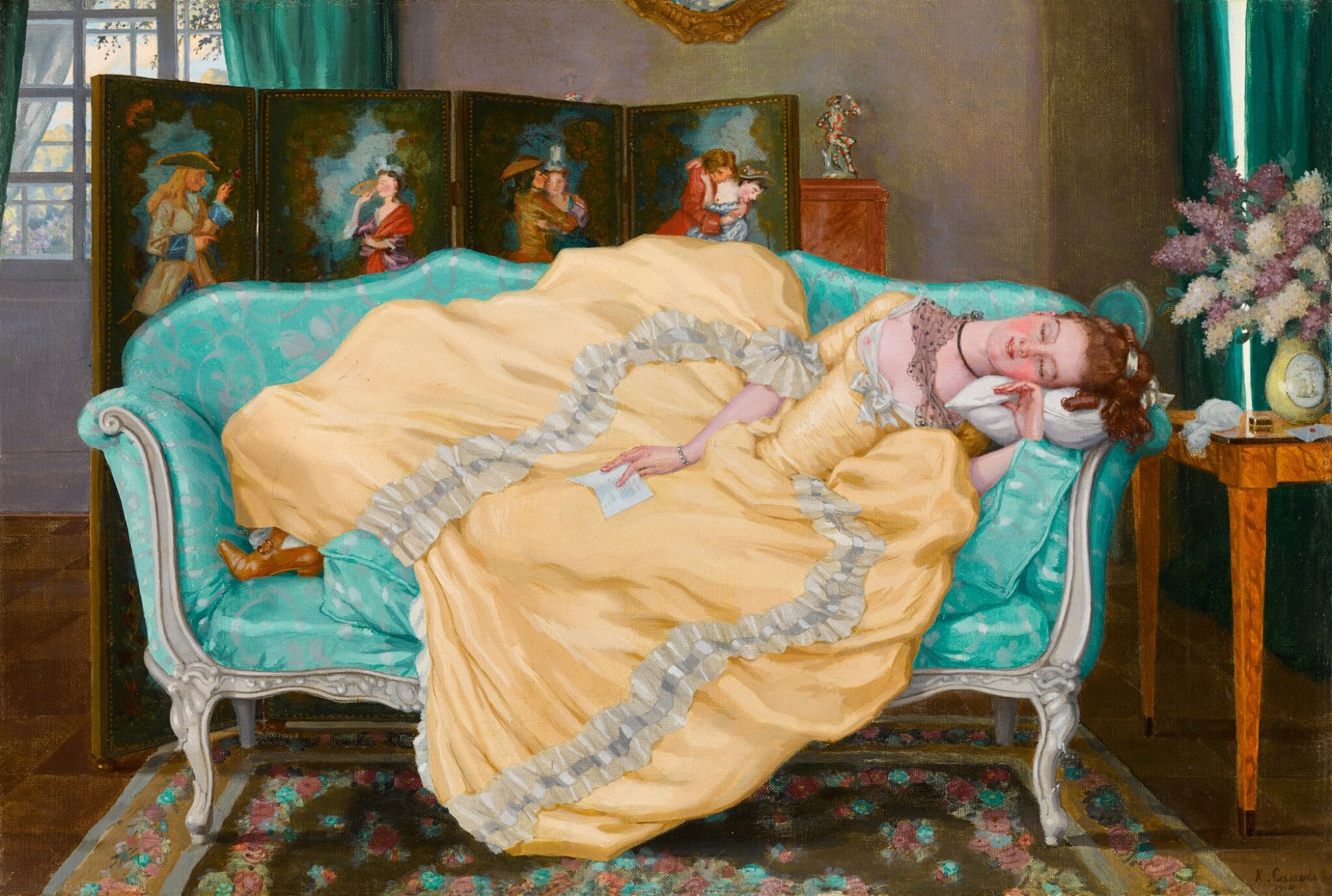 View full screen - View 1 of Lot 59. Sleeping Lady in a Room in 18th Century Dress.