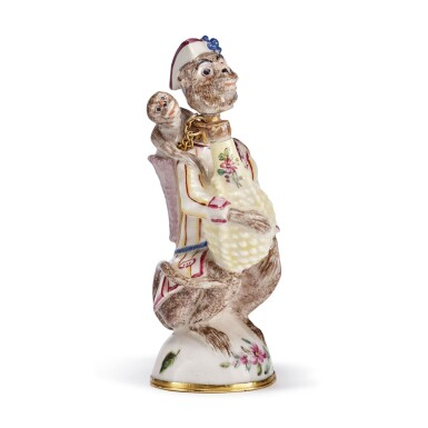 A ST. JAMES'S (CHARLES GOUYN) OR CHELSEA PORCELAIN SCENT BOTTLE AND STOPPER CIRCA 1749-55