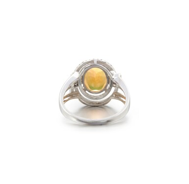View 3. Thumbnail of Lot 28. OPAL AND DIAMOND RING.