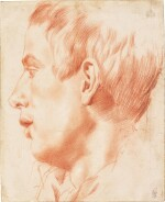 ATTRIBUTED TO ANNIBALE CARRACCI | RECTO: PORTRAIT OF A YOUNG MAN IN PROFILE; VERSO: TWO STUDIES OF HANDS
