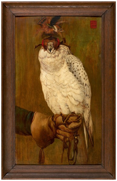 View 3. Thumbnail of Lot 4. FRENCH SCHOOL, LATE 19TH CENTURY  |  PORTRAIT OF A HOODED GYRFALCON, PERCHED ON A GLOVED HAND.