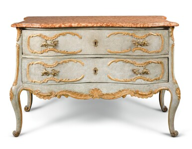 View 1. Thumbnail of Lot 19. A SOUTH GERMAN CARVED, PARCEL-GILT AND PAINTED COMMODE.