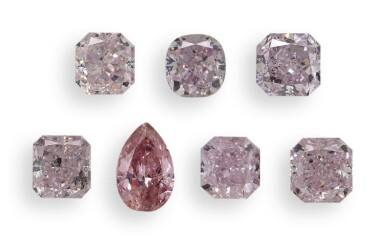 A Group ofSevenFancy Pink Colored Diamonds