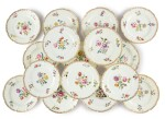 A Set of Sixteen English Porcelain Dinner Plates, Mid-19th Century
