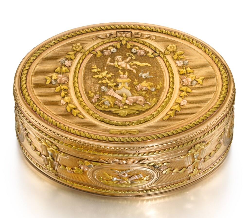 A FOUR-COLOUR GOLD BOX WITH CONCEALED TIMEPIECE AND MINIATURE, PROBABLY HANAU, CIRCA 1775