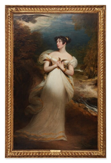 View 2. Thumbnail of Lot 123. SIR WILLIAM BEECHEY, R.A. | PORTRAIT OF MISS MARY PAYNE, LATER MRS. DOLPHIN, FULL-LENGTH, IN A WHITE GOWN AND HOLDING A THRUSH AS AN EAGLE SWOOPS TOWARD HER, IN A WOODED LANDSCAPE.