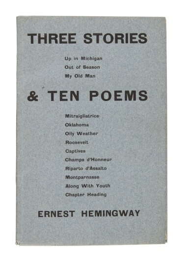 HEMINGWAY, ERNEST | Three Stories and Ten Poems. Paris: Contact Publishing, 1923
