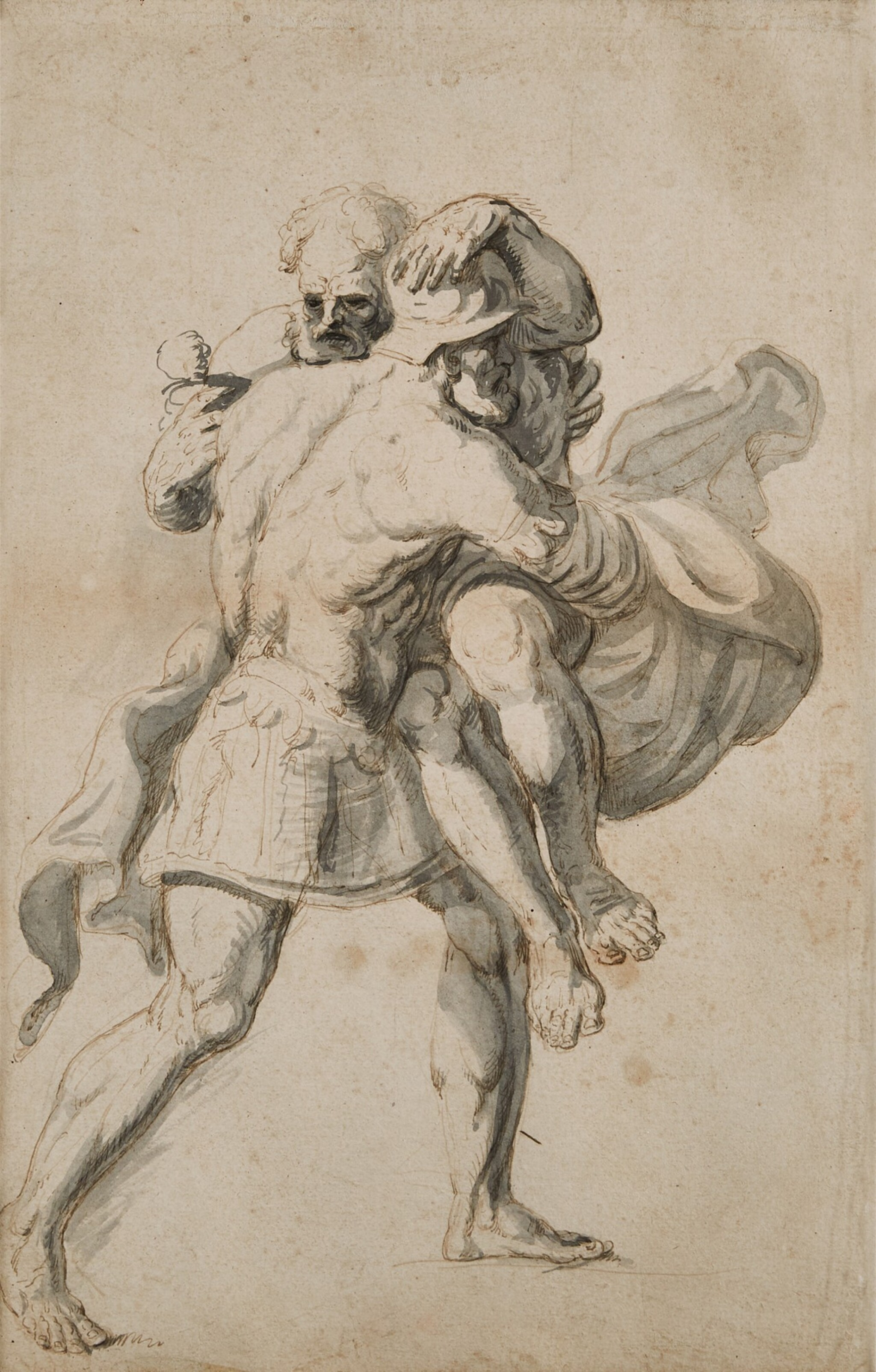 View full screen - View 1 of Lot 147. English School, 18th Century   Aeneas saving Anchises from Troy.
