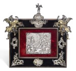 A CONTINENTAL SILVER MOUNTED DEVOTIONAL FRAME, UNMARKED, NETHERLANDISH, 17TH & 18TH CENTURY, CENTRED BY A 17TH CENTURY EMBOSSED PLAQUETTE