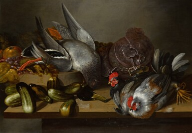 BALTHASAR HUYS | Still life with hens, a duck, gherkins, fruits, and a cabbage, all on a wooden table