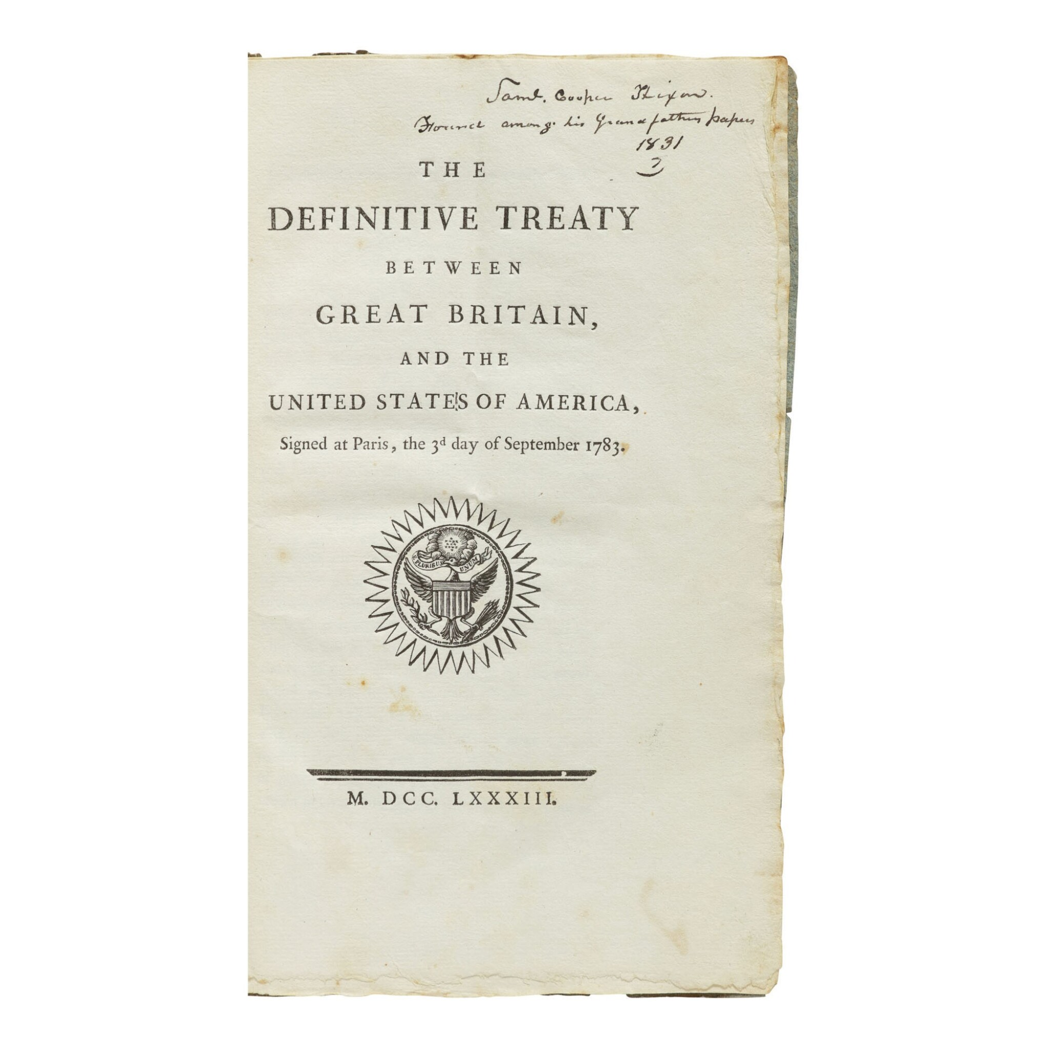 View full screen - View 1 of Lot 472. (Treaty of Paris) | First printing of the Treaty of Paris, with distinguished contemporary provenance.