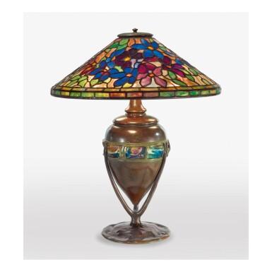 "View 1. Thumbnail of Lot 8. TIFFANY STUDIOS | ""CLEMATIS"" TABLE LAMP."