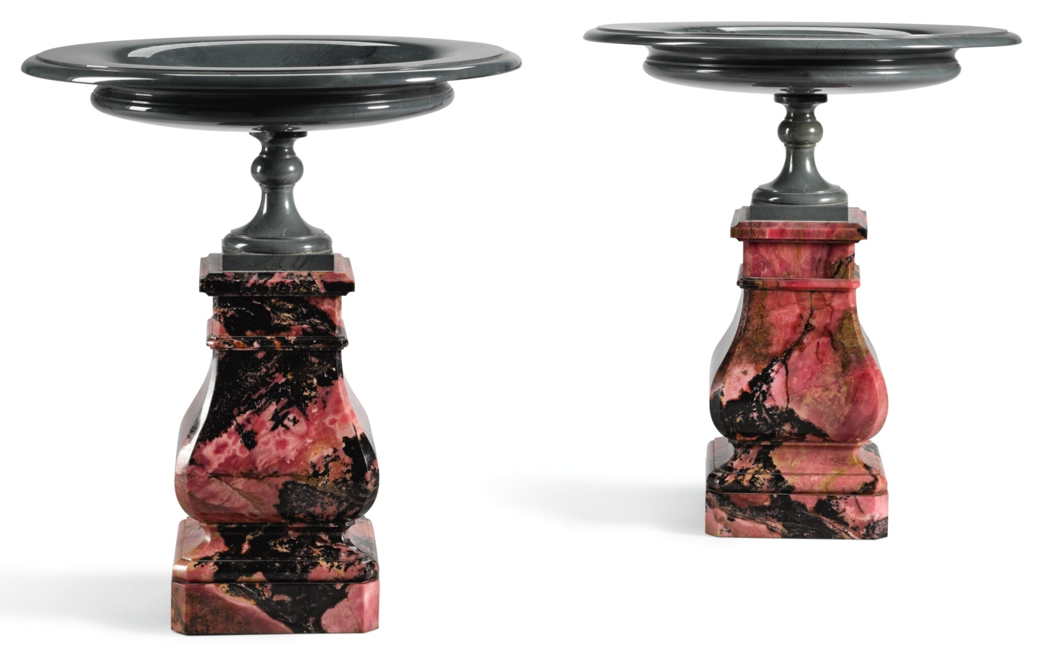 A PAIR OF RUSSIAN ORLETZ RHODONITE AND KALGAN JASPER TAZZE ON PEDESTALS CIRCA 1860, BY THE EKATERINBURG IMPERIAL LAPIDARY WORKS