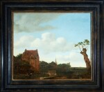 EMANUEL MURANT | VILLAGE LANDSCAPE WITH FIGURES BESIDE A RIVER, A TREE SILHOUETTED AGAINST THE SKY
