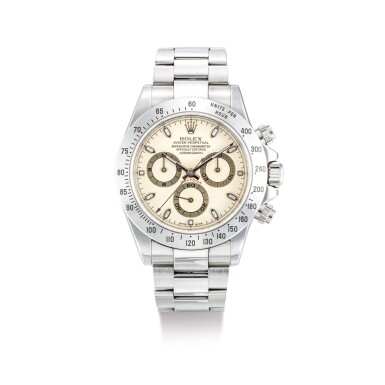 """View 1. Thumbnail of Lot 2019. ROLEX   COSMOGRAPH DAYTONA, REFERENCE 116520, A STAINLESS STEEL CHRONOGRAPH WRISTWATCH WITH CREAM DIAL AND BRACELET, CIRCA 2000    勞力士   """"Cosmograph Daytona 型號116520  精鋼計時鏈帶腕錶,備杏色錶盤,錶殼編號K735916,約2000年製""""."""