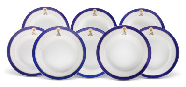 EIGHT PORCELAIN DINNER PLATES FROM THE TSAREVICH NICHOLAS ALEXANDROVICH SERVICE, IMPERIAL PORCELAIN FACTORY, ST PETERSBURG, PERIOD OF NICHOLAS II (1894-1917)