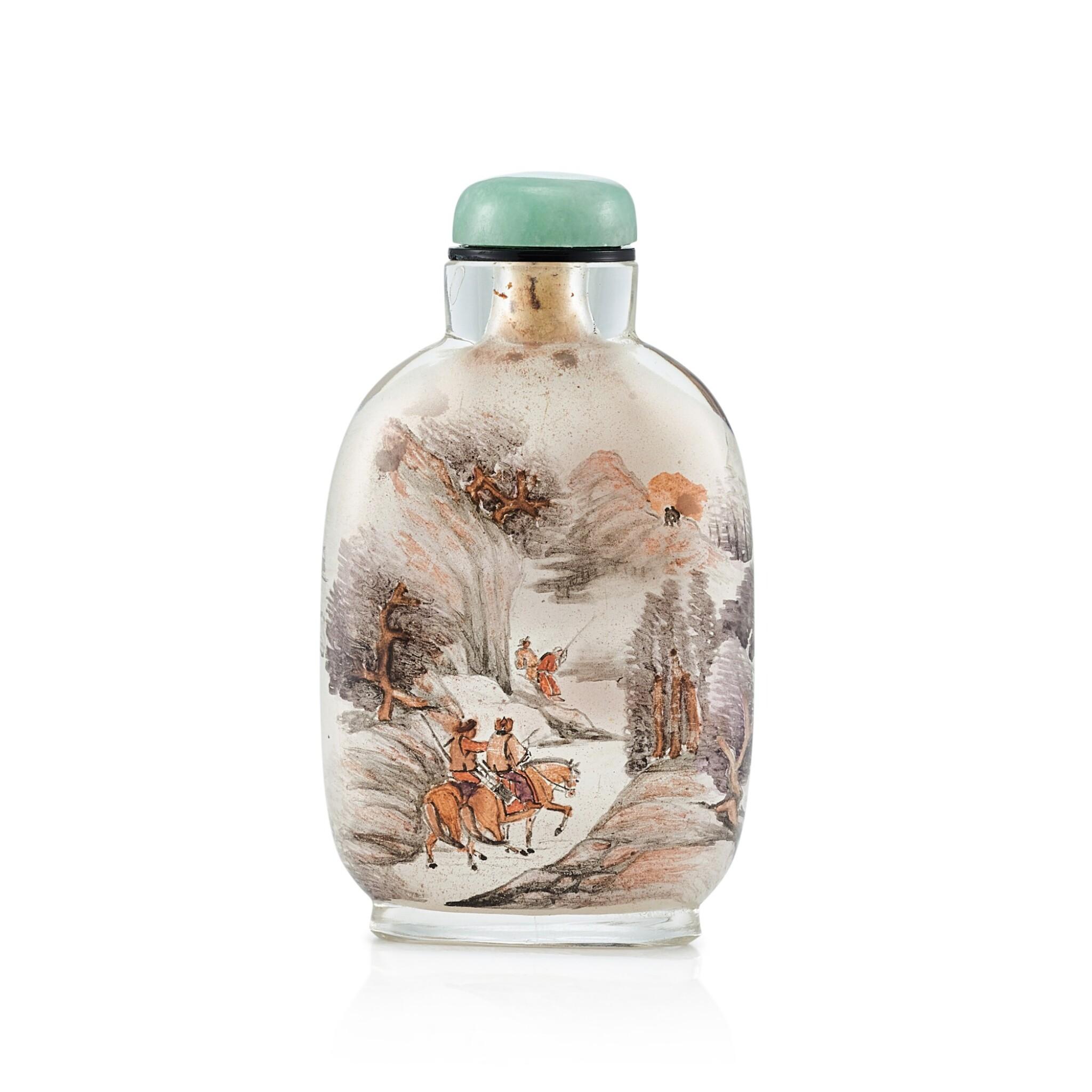 View full screen - View 1 of Lot 3056. An Inside-Painted Glass 'Equestrians in a Landscape' Snuff Bottle By Zhang Baotian, Dated Wuxu Year, Corresponding to 1898 | 戊戌(1898年) 張葆田作玻璃內畫狩獵圖鼻煙壺 《戊戌秋月張葆田作》款.