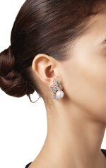 PAIR OF CULTURED PEARL AND DIAMOND EARCLIPS, STERLÉ, PARIS