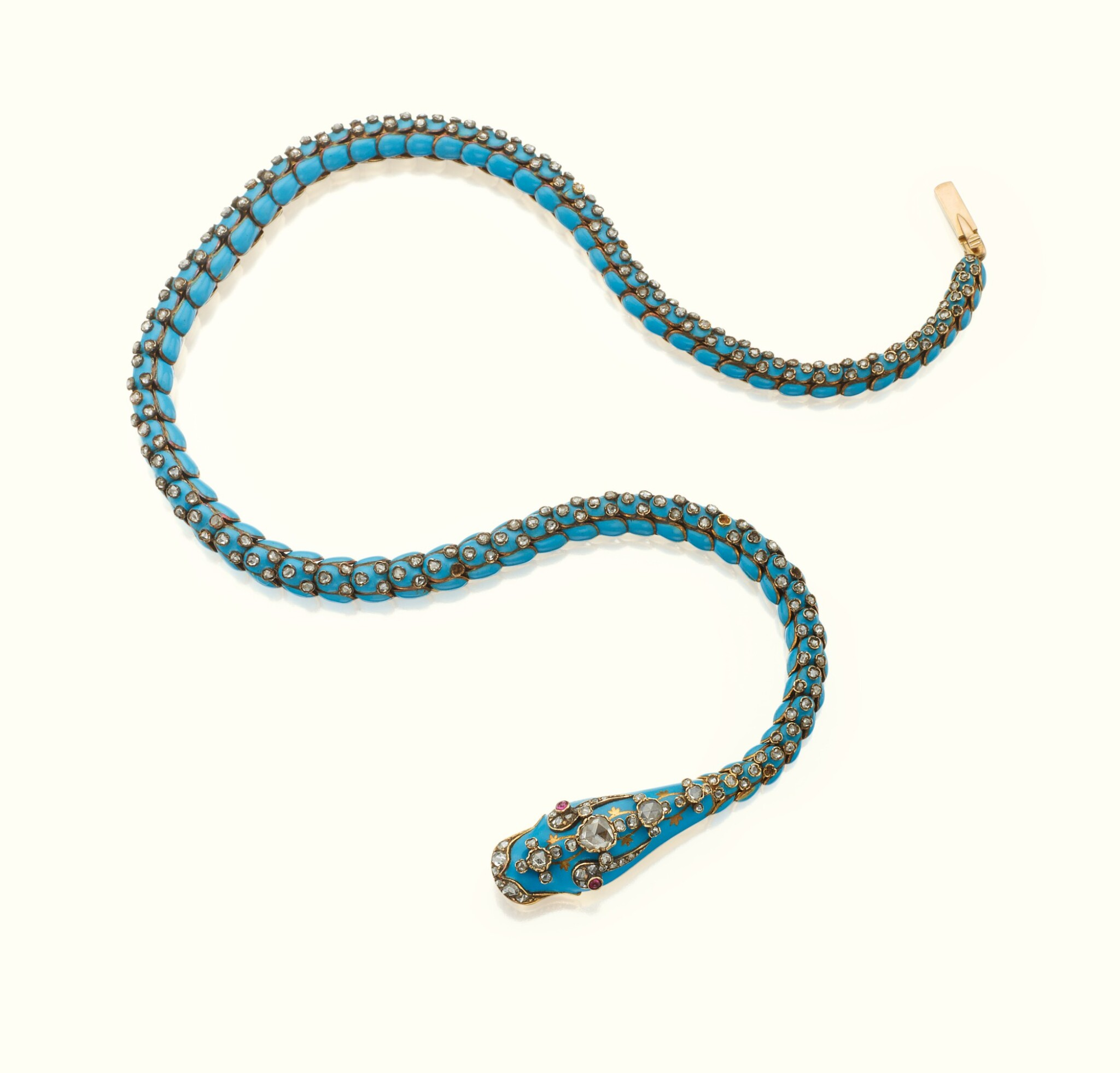 View full screen - View 1 of Lot 41. A GOLD, ENAMEL, AND JEWELED SERPENT NECKLACE, CIRCA 1875.