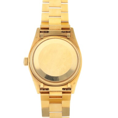 View 4. Thumbnail of Lot 437. 'STELLA' DAY-DATE, REF 18038 YELLOW GOLD WRISTWATCH WITH DAY, DATE, BRACELET AND GREEN STELLA DIAL CIRCA 1979.