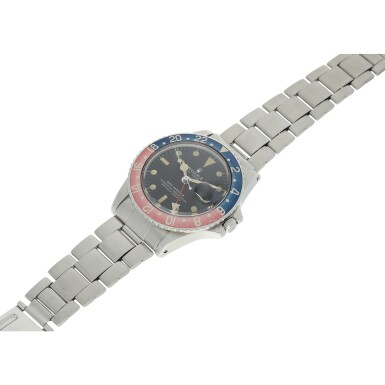 View 6. Thumbnail of Lot 98. REFERENCE 1675 GMT-MASTER 'PEPSI' A STAINLESS STEEL AUTOMATIC DUAL TIME WRISTWATCH WITH DATE AND BRACELET, CIRCA 1972.