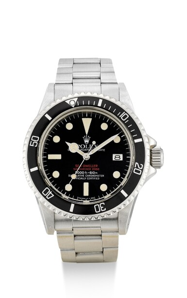 """ROLEX   SEA-DWELLER """"DOUBLE RED"""", REFERENCE 1665,  A STAINLESS STEEL WRISTWATCH WITH DATE AND BRACELET, CIRCA 1978"""