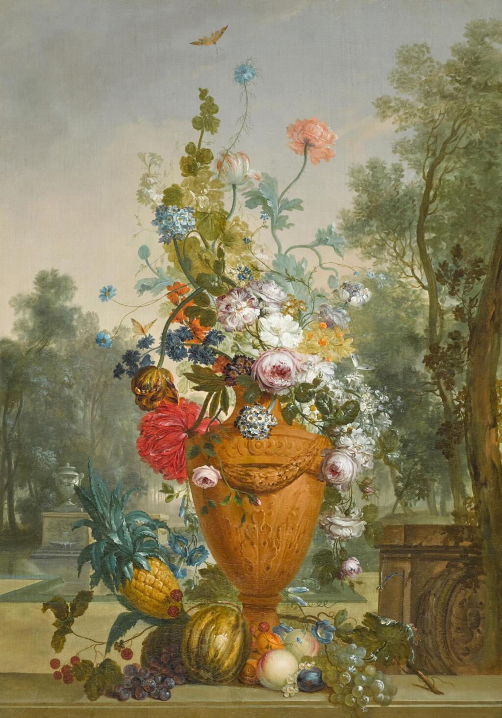 JACOBUS LINTHORST | A vase of peonies, chrysanthemums and a carnation with exotic fruits in a garden