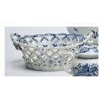 A LOWESTOFT PORCELAIN BLUE AND WHITE RETICULATED BASKET CIRCA 1770