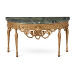 A PIEDMONTESE NEOCLASSICAL GILTWOOD CONSOLE TABLE WITH GREEN MARBLE TOP, 18TH/19TH CENTURY