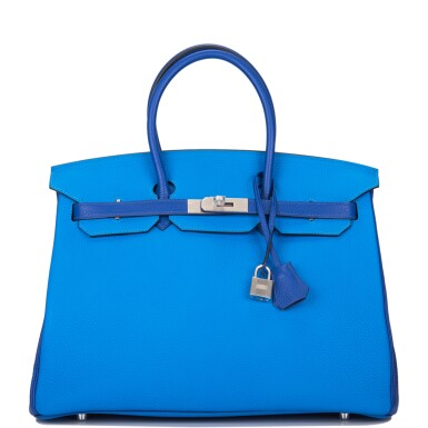 Hermès Horseshoe Stamp (HSS) Bicolor Bleu Electrique and Bleu Hydra 35cm of Clemence Leather with Brushed Palladium Hardware