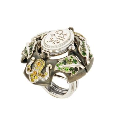 View 2. Thumbnail of Lot 8. Elie Top, Gem-Set, Diamond And Chalcedony Ring [Bague Diamants, Pierres De Couleur Et Calcédoine], 'Air De Printemps'.