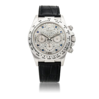 ROLEX |  'ZENITH' DAYTONA, REF 16519   WHITE GOLD DIAMOND AND SAPPHIRE-SET CHRONOGRAPH WRISTWATCH    CIRCA 2000