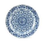 A foliate 'floral' blue and white charger, China, Qing Dynasty, Kangxi period